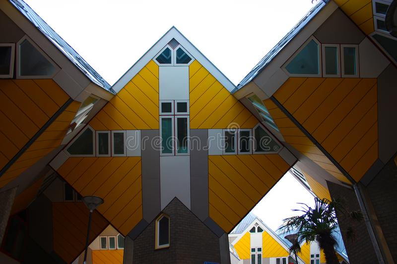 Apartments and offices inside the cubic houses of Rotterdam, metropolitan city stock photography