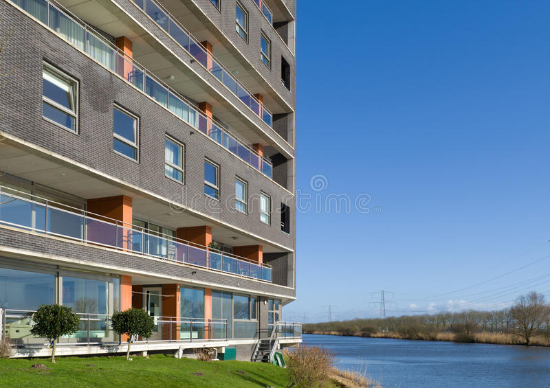 Apartments at the waterfront. Modern apartments in Almere, Netherlands at the waterfront royalty free stock photography