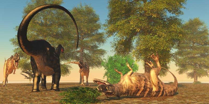 Apatasaurus воюет цератозавра иллюстрация вектора