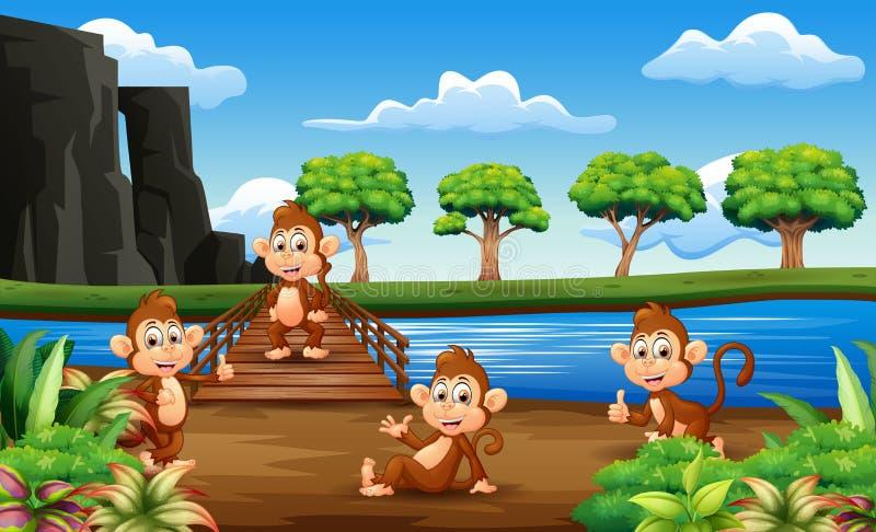 Apatecknad film som ut hänger på träbron royaltyfri illustrationer