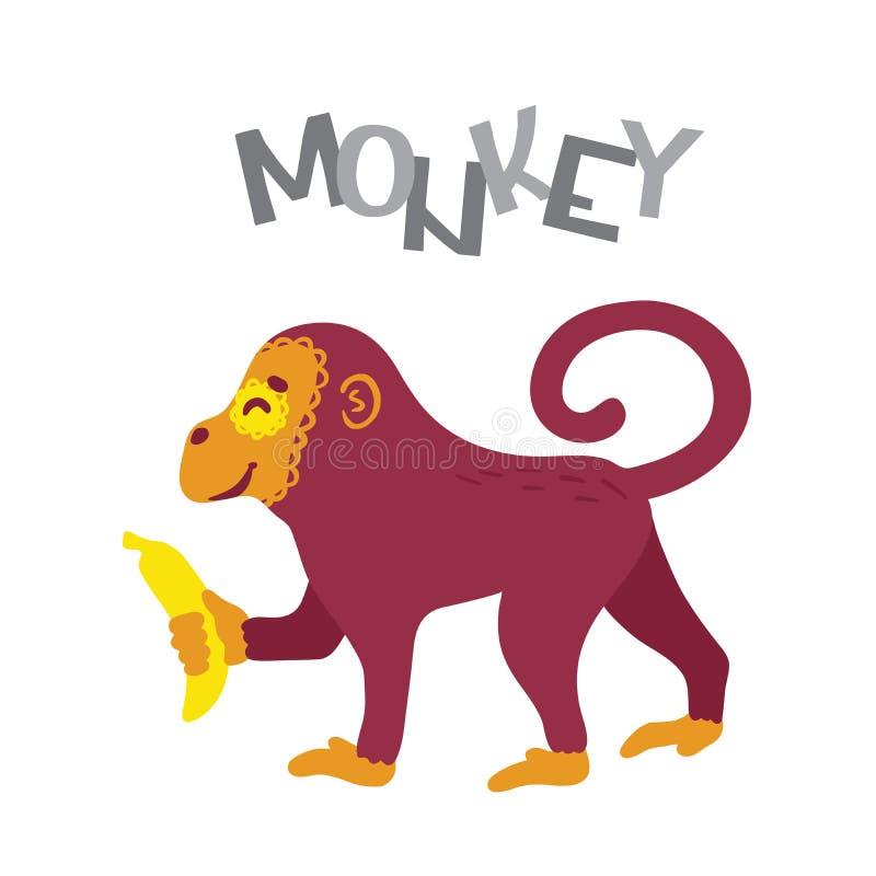 Apatecknad filmtecken med bananen och bokstäver royaltyfri illustrationer