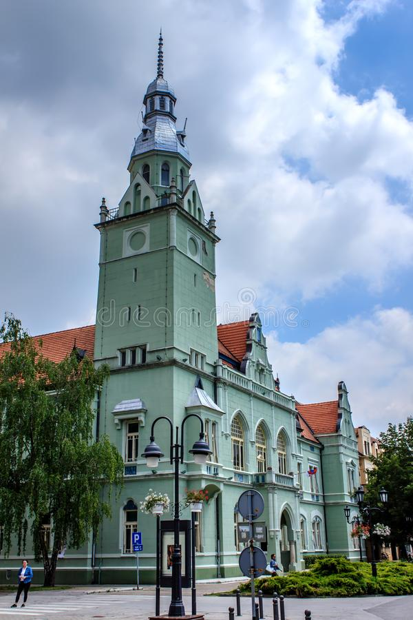 Apatin, Vojvodina, Serbia. A sunny day in spring and the town hall in the center of Apatin royalty free stock images