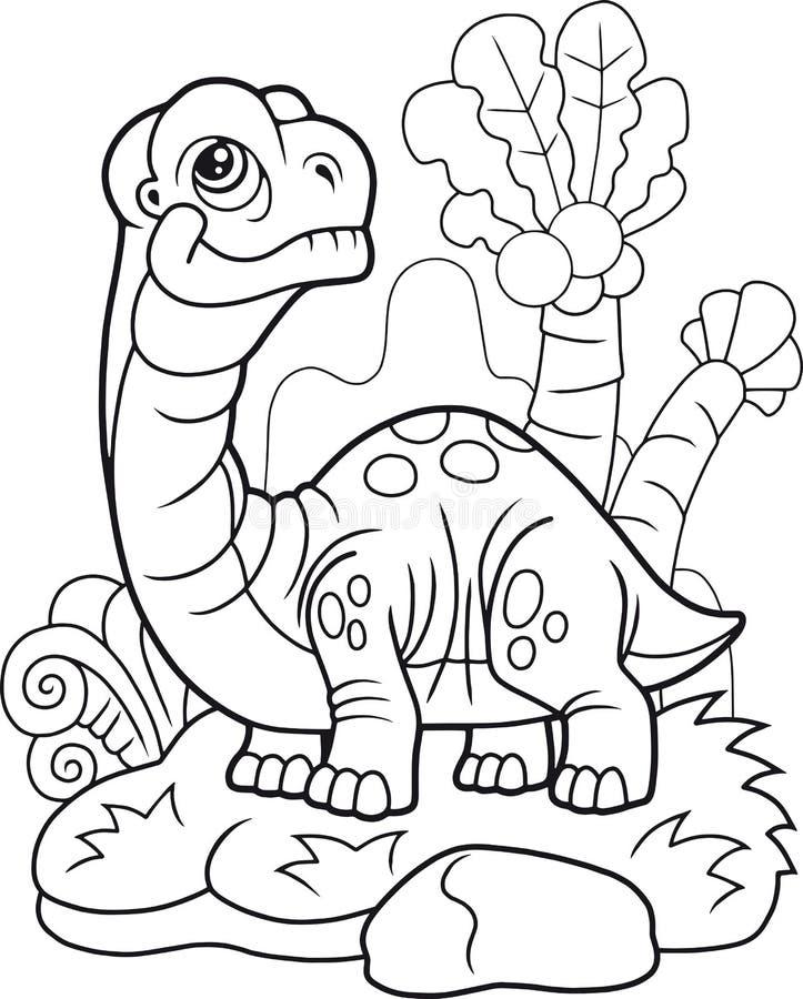 Apatosauro del dinosauro del fumetto, illustrazione divertente, libro da colorare illustrazione vettoriale