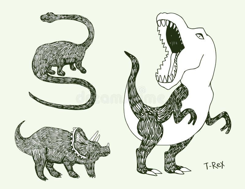 Apatosaurustriceraptoren och ilsken tyrannosarierex med den öppna enorma munnen skissar Hand-dragen dinosaurieuppsättning Djur ve vektor illustrationer