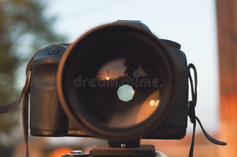 Apature på yrkesmässig kamera royaltyfria foton