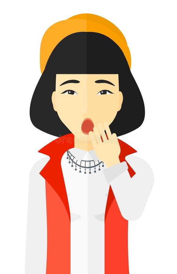 Apatyczny młodej kobiety ziewanie royalty ilustracja