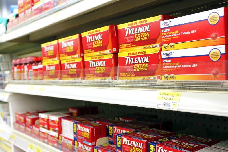 Apaziguador de dor de Tylenol fotografia de stock