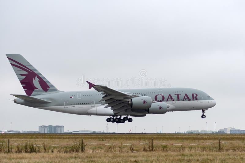 Airbus A380-861 - 143, operated by Qatar Airways landing. A7-APB Airbus A380-861 on 4 September 2018 in Paris Roissy Charles de Gaulle landing approach for Qatar royalty free stock photos