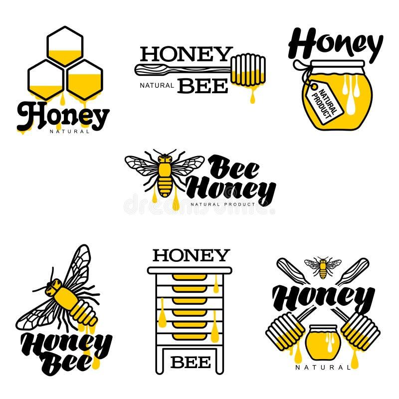 Ape, alveare, barattolo del miele ed insieme disegnati a mano di logo del merlo acquaiolo illustrazione vettoriale