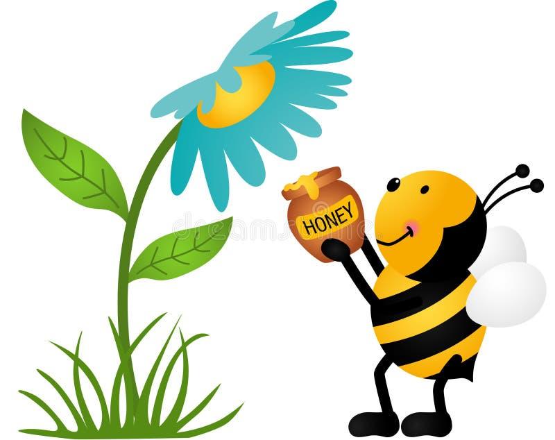 Ape che raccoglie Honey From Flower royalty illustrazione gratis