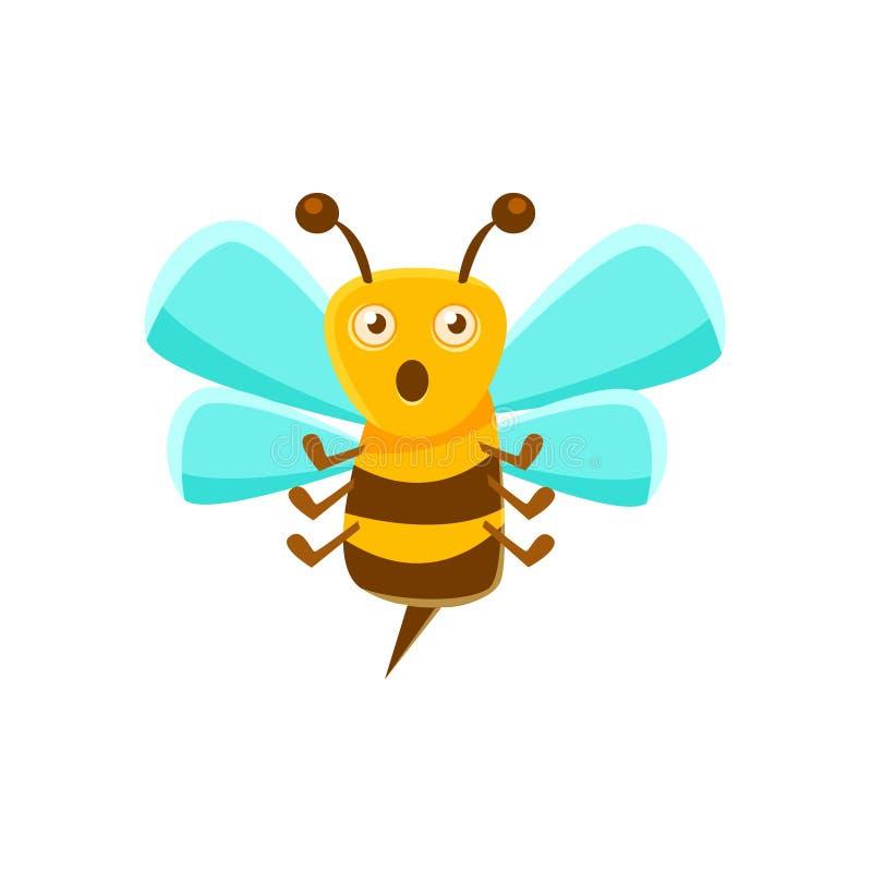 Ape confusa Mid Air con Sting, Honey Production Related Carton Illustration naturale illustrazione vettoriale