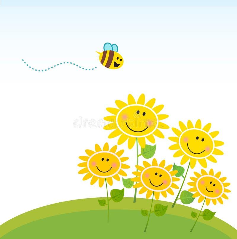 Ape giallo sveglio del miele con il gruppo di fiori royalty illustrazione gratis