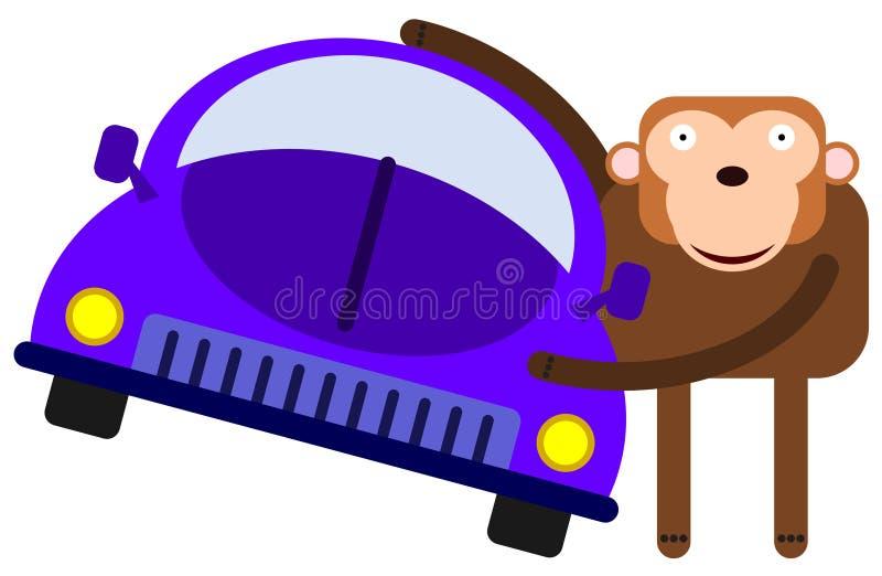 Ape loves car vector illustration
