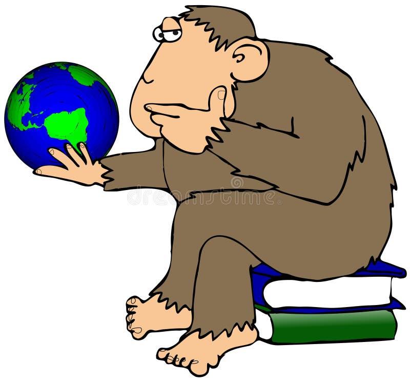 Ape Pondering A Globe royalty free illustration