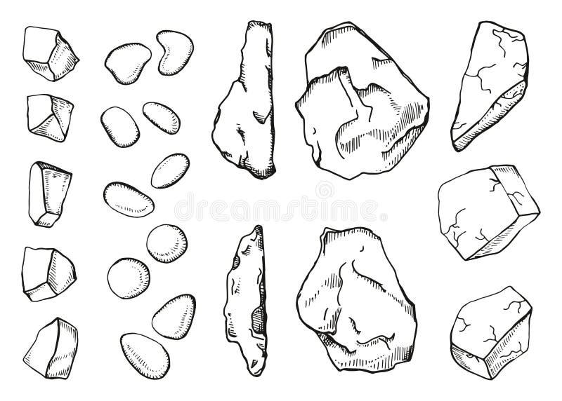 Apedreja o grupo diferente de esboço Ilustração do vetor do desenho da mão ilustração do vetor