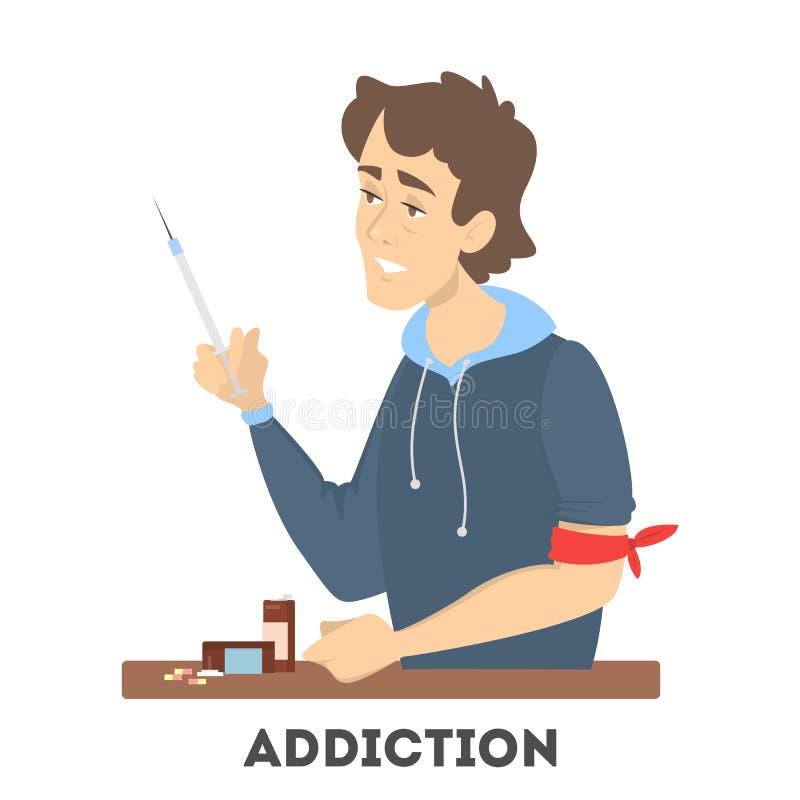 Apego à droga Toxicômano com uma seringa ilustração do vetor