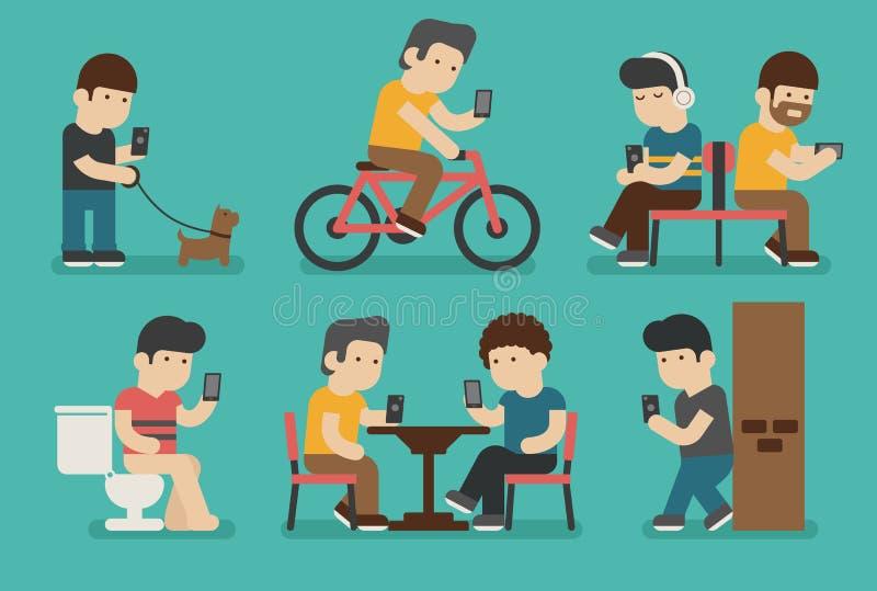Apego de Internet y del smartphone stock de ilustración