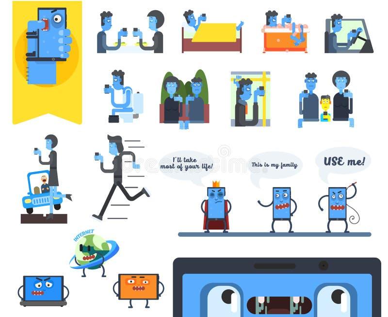 Apego de Smartphone Conjunto de la ilustración del vector stock de ilustración