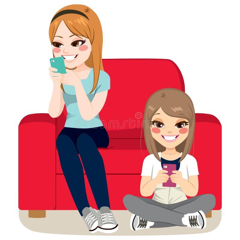 Apego de Smartphone das meninas ilustração royalty free