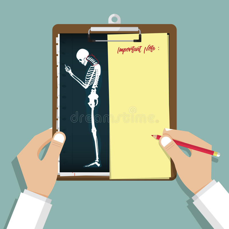 Apego Infographic de Smartphone en diseño plano Tablero en mano del doctor Informe médico y de la atención sanitaria stock de ilustración