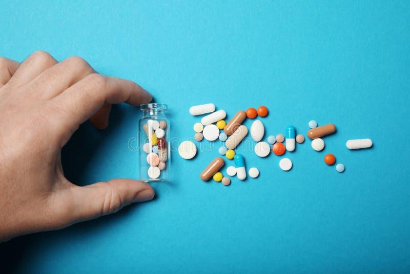 Apego m?dico da farmacologia Antidepressivo, antibi?tico, antioxidante, comprimidos de aspirin fotografia de stock royalty free