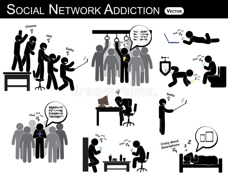 Apego social de la red un smartphone del uso del hombre cada vez, por todas partes (en lavabo, oficina, hogar, autobús, comedor)  ilustración del vector
