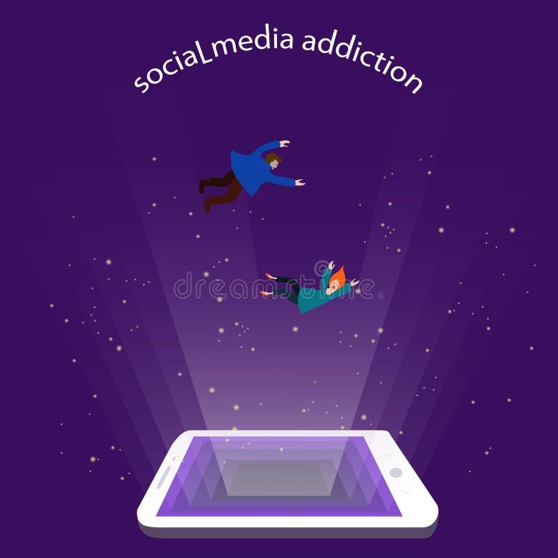 Apego social de los medios, concepto dependencia del smartphone caída minúscula de la gente en la pantalla que brilla intensament ilustración del vector