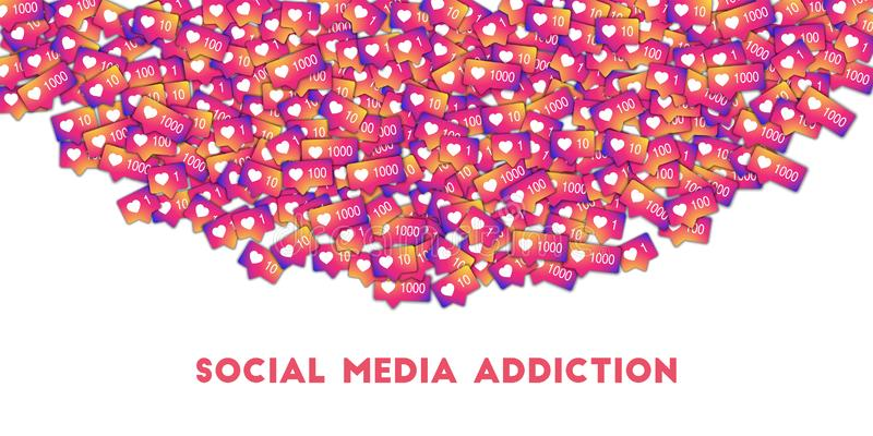 Apego social dos meios Ícones sociais dos meios no fundo abstrato da forma com contador do inclinação fotografia de stock