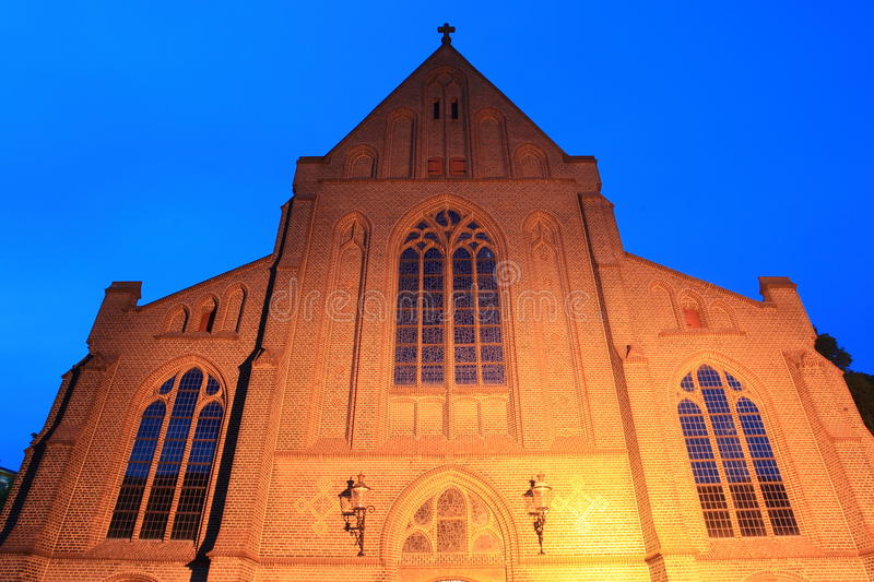 Apeldoorn at night. Church of Our Lady in Apeldoorn at night, Netherlands stock image