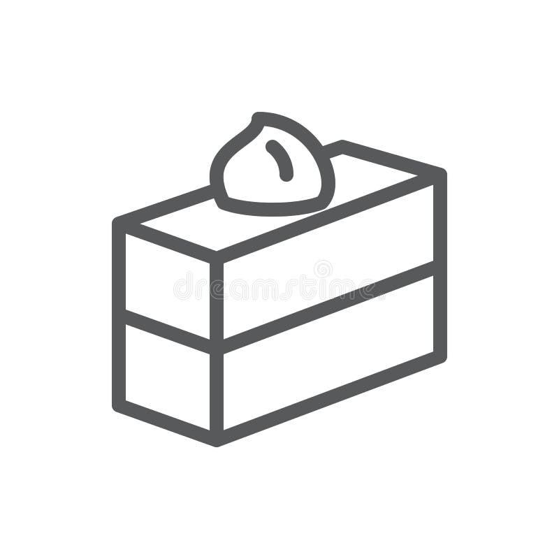 Apelmace el icono perfecto del pixel cuadrado del pedazo con el movimiento editable - los pasteles acodados cocidos dulce adornad ilustración del vector