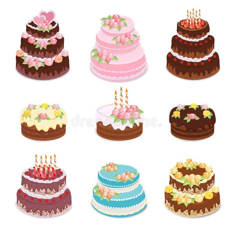 Apelmaza la colección El sistema de diversos tipos dulce cocido se apelmaza - la torta de chocolate, el cumpleaños y la celebraci stock de ilustración