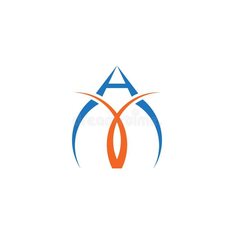 Apelsin för blått för vektor för logo för abstrakt swoosh för bokstav A enkel stock illustrationer
