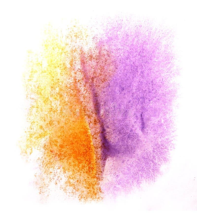 Apelsin för färgstänk för akvarell för klick för målarfärg för konstvattenfärgfärgpulver, lila fotografering för bildbyråer
