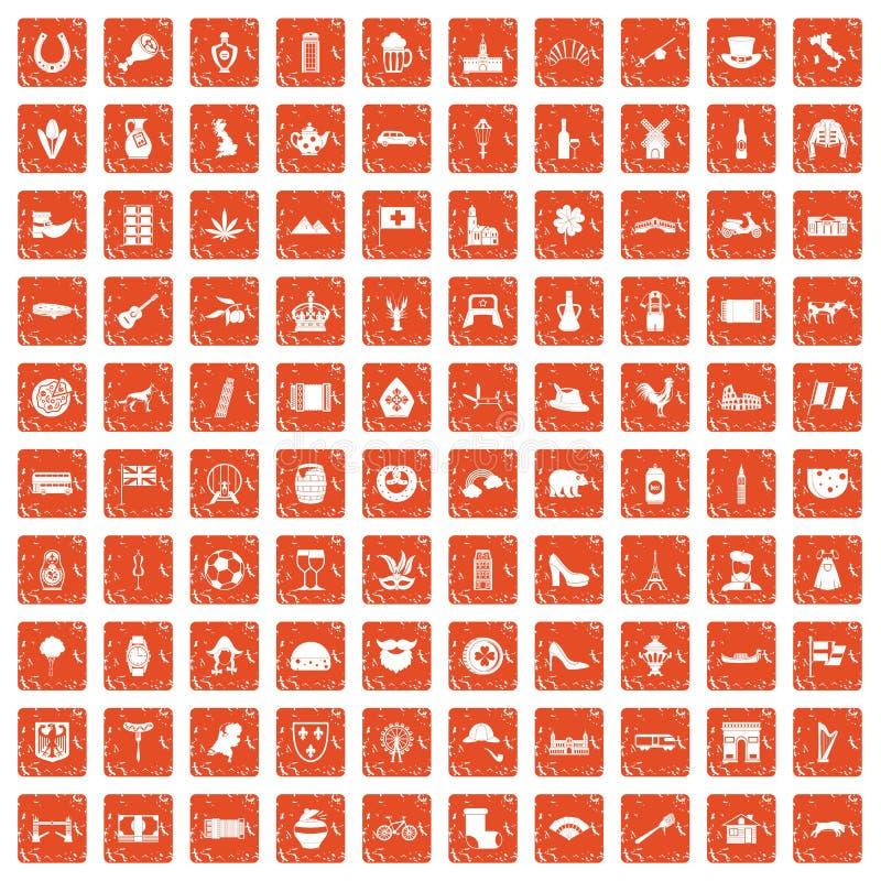 Apelsin för grunge för 100 Europa symboler fastställd royaltyfri illustrationer