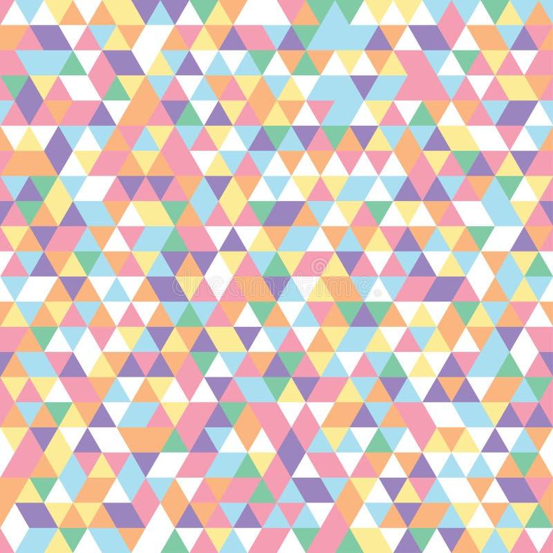 Apelsin för lilor för guling för vit för blått för rosa färger för geometriska trianglar för mosaikmodell färgrik stock illustrationer