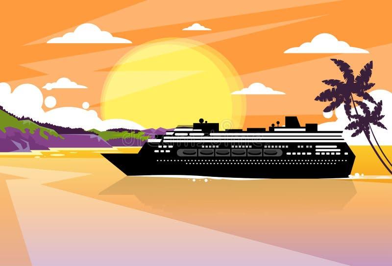 Apelsin för solnedgång för ö för eyeliner för kryssningskepp tropisk royaltyfri illustrationer