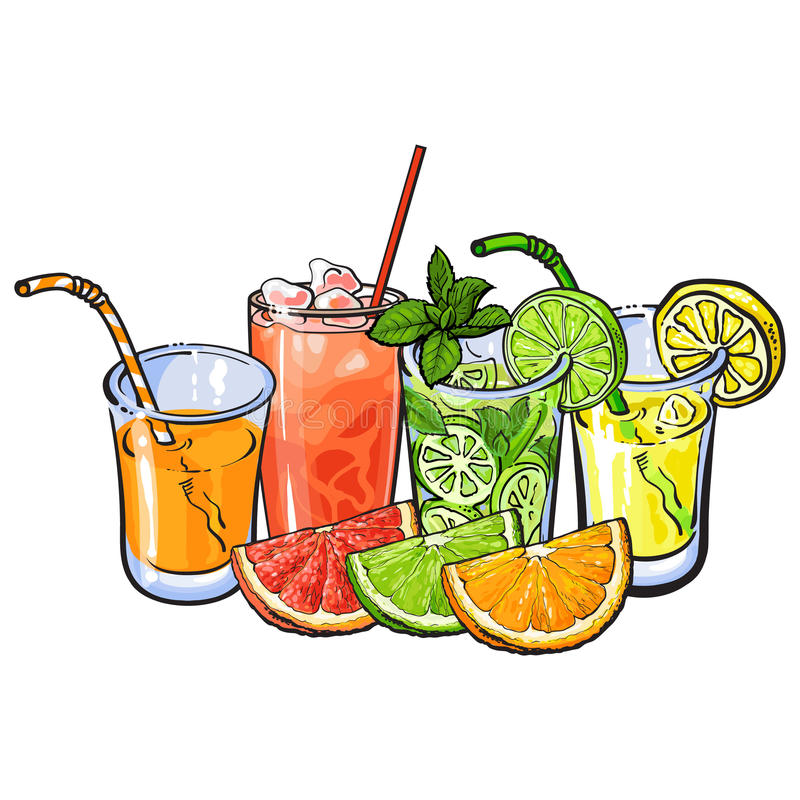 Apelsin-, grapefrukt-, limefrukt-, citronjuice- och frukthalvor stock illustrationer