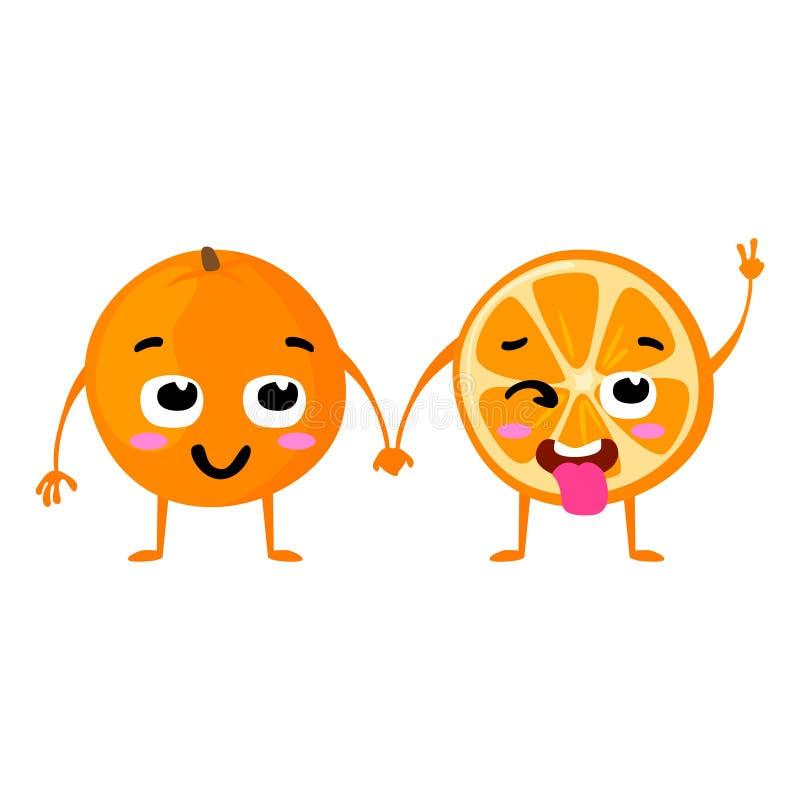 Apelsin Gulliga par för fruktvektortecken som isoleras på vit bakgrund Roliga emoticonsframsidor illustration vektor illustrationer