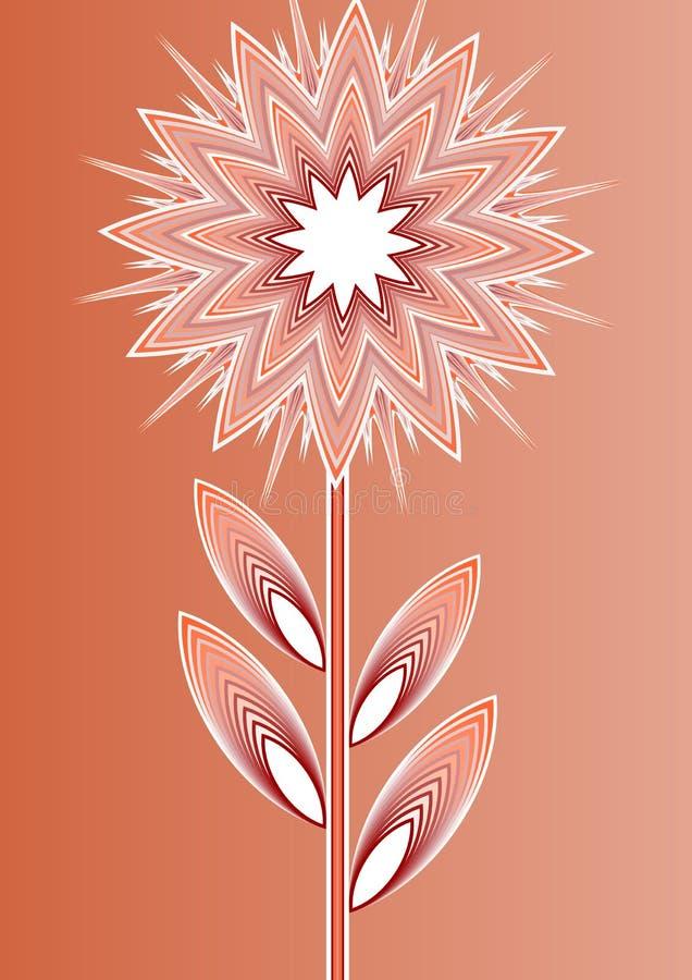 Apelsin isolerad fantasiblomma på lutningbakgrund, linje konstillustration, mall för affischen, inbjudan royaltyfri illustrationer