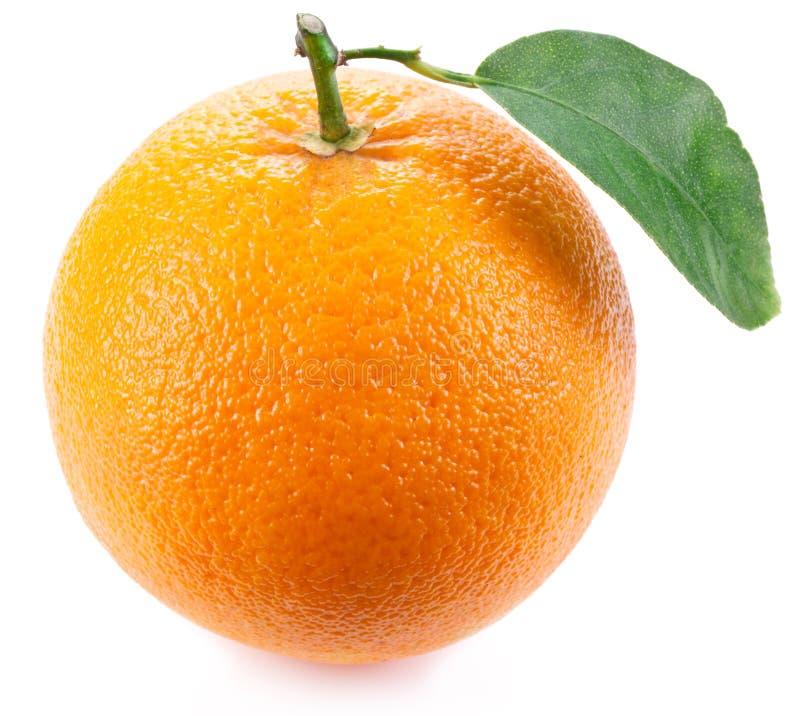 Apelsin med bladet. royaltyfria foton