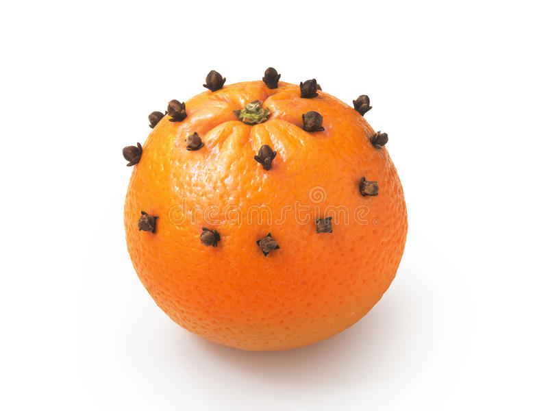 Apelsin med kryddnejlikan royaltyfri foto