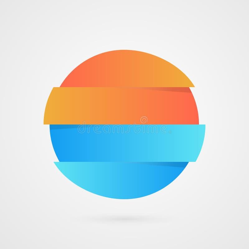Apelsin- och blåttcirkelprövkopia Abstrakt bakgrundskort och linjer Marknadsföra prövkopiasymbolen Isolerad affärslogoillustratio vektor illustrationer