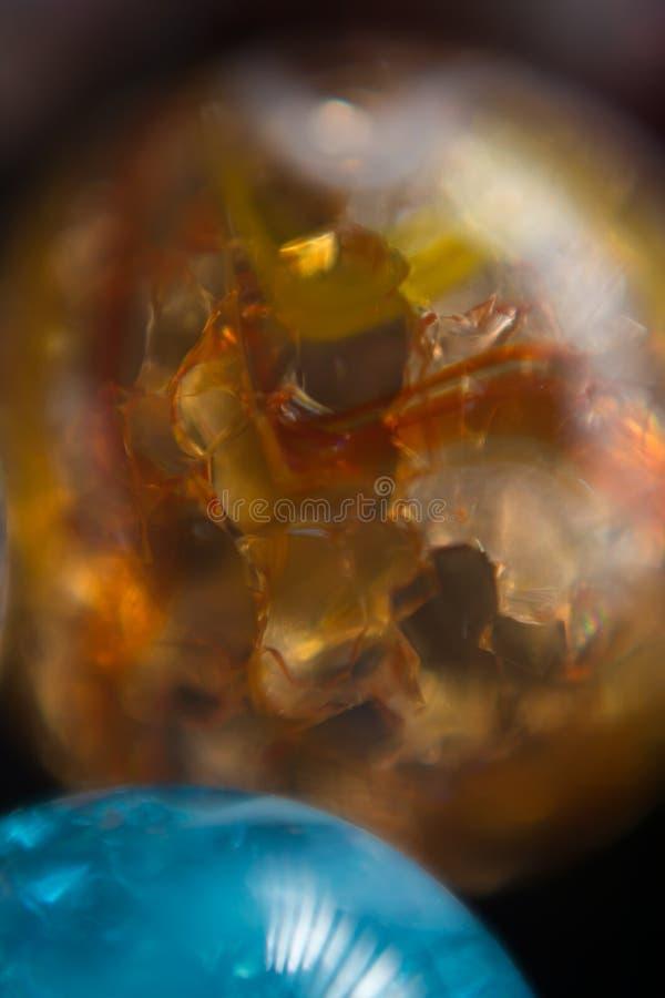 Apelsin- och blåttmarmor 16 royaltyfri fotografi