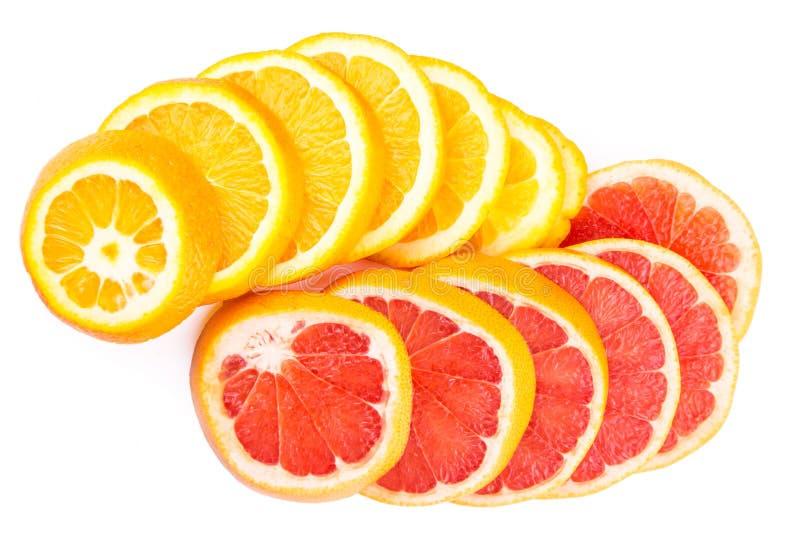 Apelsin- och grapefruktskivor royaltyfri fotografi