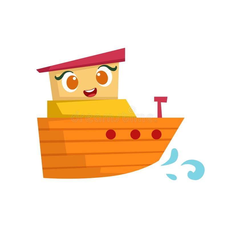 Apelsin och litet fartyg för guling, gullig flickaktigt Toy Wooden Ship With Face tecknad filmillustration vektor illustrationer