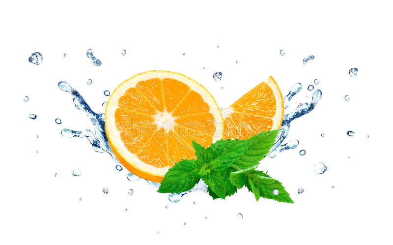 Apelsin- och vattenfärgstänk royaltyfri bild