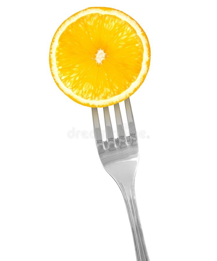 Apelsin på en gaffel royaltyfri foto