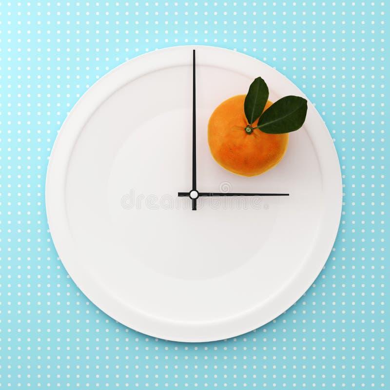 Apelsin på vitrundaplattan i en form av klockan på punktmodell royaltyfri illustrationer