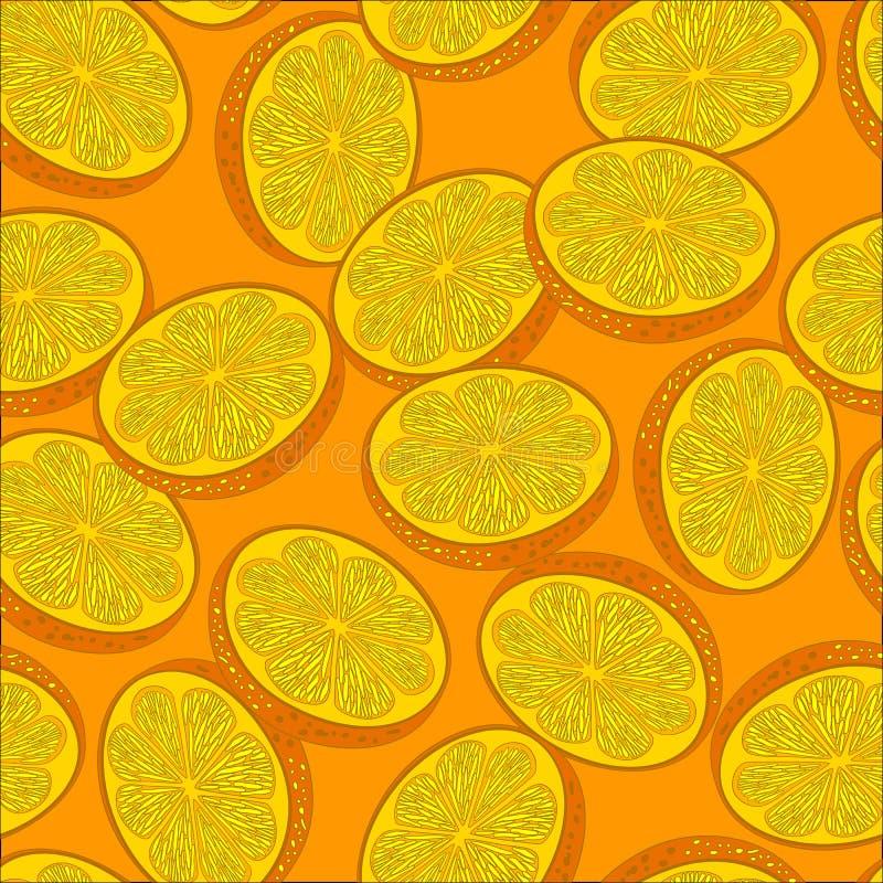 Apelsin Sömlös bakgrund för vektor med apelsiner royaltyfri illustrationer