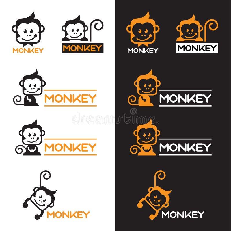 Apelsinen och svart härmar fastställd design för logovektor stock illustrationer